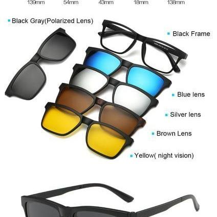 Magnetic Clip-On Sunglasses with 5 Lenses-American Aura
