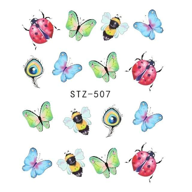 1pcs Nail Sticker Butterfly Flower Water Transfer Decal Sliders for Nail Art Decoration Tattoo Manicure Wraps Tools Tip JISTZ508-American Aura