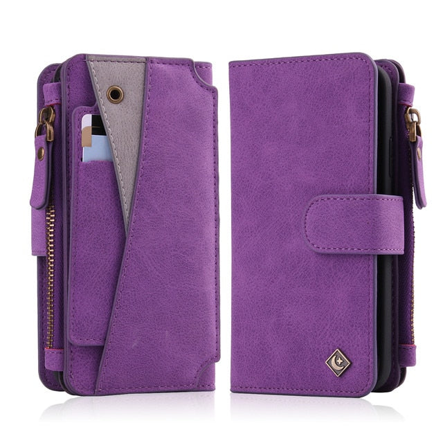 2 in 1 Luxury Magnetic Leather Wallet & iPhone Case.