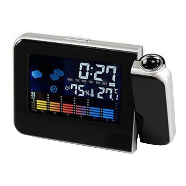 Smart Digital Projection Clock Time Alarm Clock Weather Station Projector-American Aura