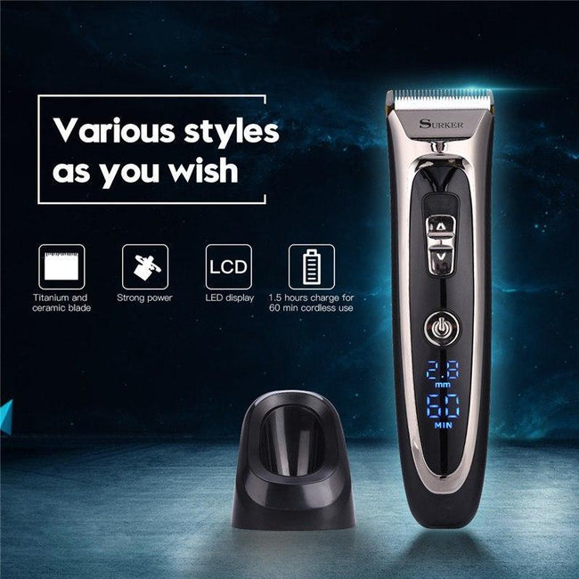 Professional Titanium Ceramic Hair Clipper Rechargeable Hair Trimmer For Men Electric Beard Shaver Hair Cutting Machine Haircut-American Aura