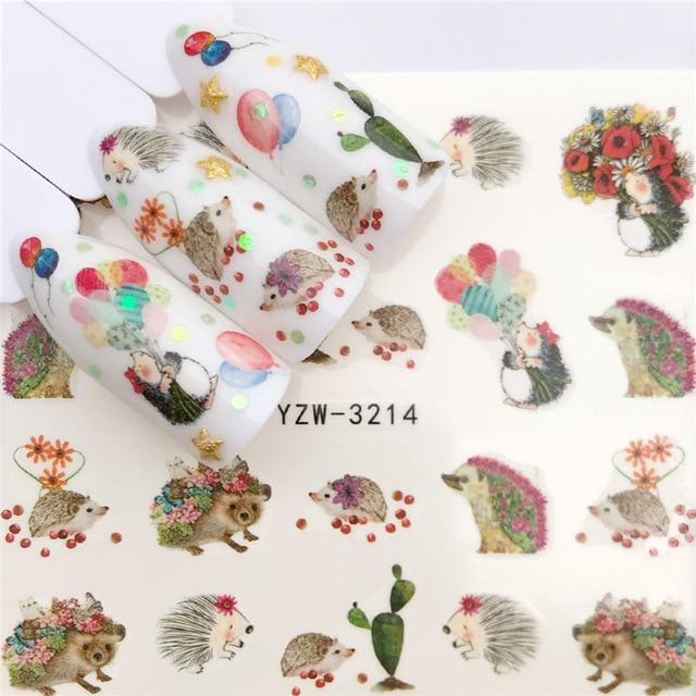 WUF Nail Art Nail sticker2019 New Slider Tattoo Flower Water Decal Santa Claus Snowman Full Wraps Designs Decals-American Aura