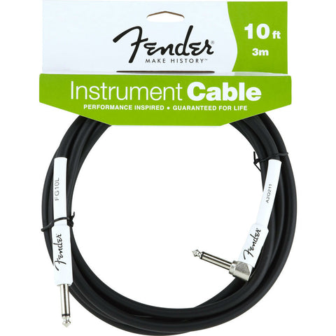 Fender® Performance Series Instrument Cable, 10', Black, Angled - Octave Music Store