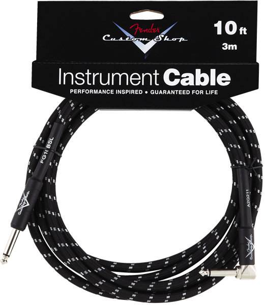 FENDER® CUSTOM SHOP CABLES,10', Black, Angled