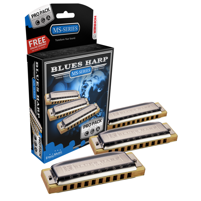 Hohner Blues Harp Pro Pack - C, G, A Harmonicas - Octave Music Store