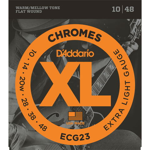D'Addario ECG23 Chromes Flat Wound Electric Guitar Strings, Extra Light, 10-48 - Octave Music Store - 1