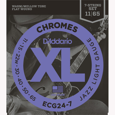 D'Addario ECG24-7 Chromes Flat Wound Electric Guitar Strings, Jazz Light/7-string, 11-65 - Octave Music Store - 1