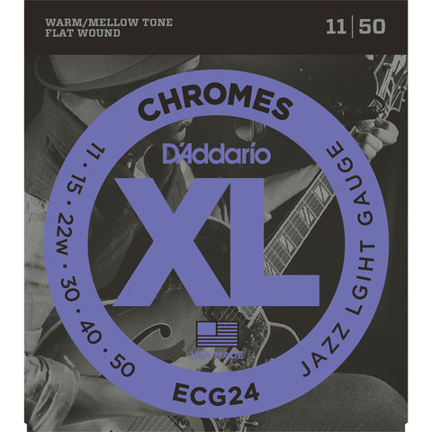 D'Addario ECG24 Chromes Flat Wound Electric Guitar Strings, Jazz Light, 11-50 - Octave Music Store - 1
