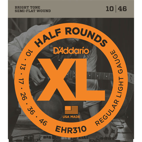 D'Addario EHR310 Half Rounds Electric Guitar String, Regular Light, 10-46 - Octave Music Store - 1