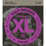 D'Addario EHR320 Half Rounds Electric Guitar String, Super Light, 9-42 - Octave Music Store - 1