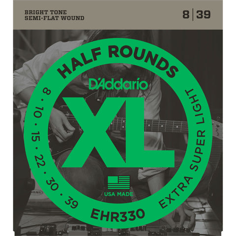 D'Addario EHR330 Half Rounds Electric Guitar String, Extra-Super Light, 8-39 - Octave Music Store - 1