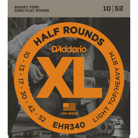 D'Addario EHR340 Half Rounds Electric Guitar String, Light Top/Heavy Bottom, 10-52 - Octave Music Store - 1