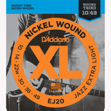 D'Addario EJ20 Nickel Wound Electric Guitar Strings, Jazz Extra-Light, 10-49 - Octave Music Store - 1