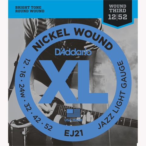 D'Addario EJ21 Nickel Wound Electric Guitar Strings, Jazz Light, 12-52 - Octave Music Store - 1