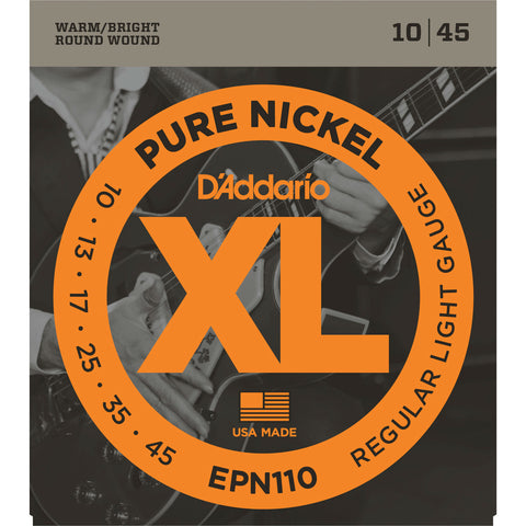 D'Addario EPN110 Pure Nickel Round Wound Electric Guitar Strings, Regular Light, 10-45 - Octave Music Store - 1