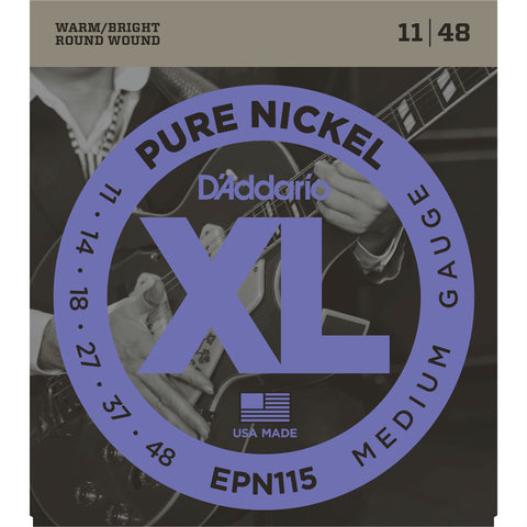 D'Addario EPN115 Pure Nickel Round Wound Electric Guitar Strings, Blues/Jazz Rock, 11-48 - Octave Music Store - 1