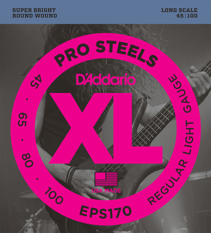 D'Addario ProSteels EPS170 Regular Light Long Scale Bass Strings 45-100 - Octave Music Store - 1