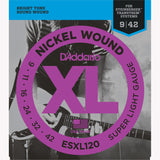 D'Addario ESXL120 Nickel Wound Electric Guitar Strings, Super Light/Double Ball End, 9-42 - Octave Music Store - 1