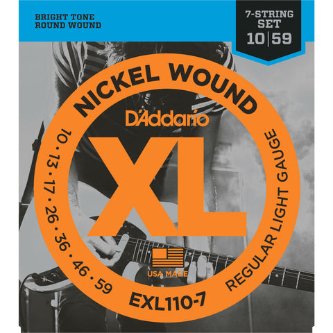 D'Addario EXL110-7 7-String Nickel Wound Electric Guitar Strings, Regular  Light, 10-59 - Octave Music Store - 1