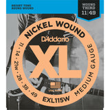D'Addario EXL115W Nickel Wound Electric Guitar Strings, Blues/Jazz Rock/Wound 3rd, 11-49 - Octave Music Store - 1