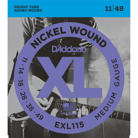 D'Addario EXL115 Nickel Wound Electric Guitar Strings, Blues/Jazz Rock, 11-49 - Octave Music Store - 1