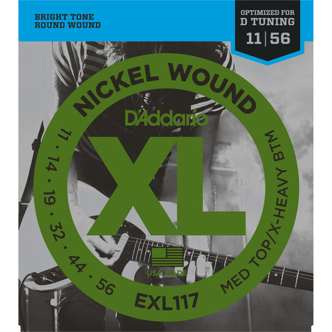 D'Addario EXL117 Nickel Wound Electric Guitar Strings, Medium Top/Extra Heavy Bottom, 11-56 - Octave Music Store - 1