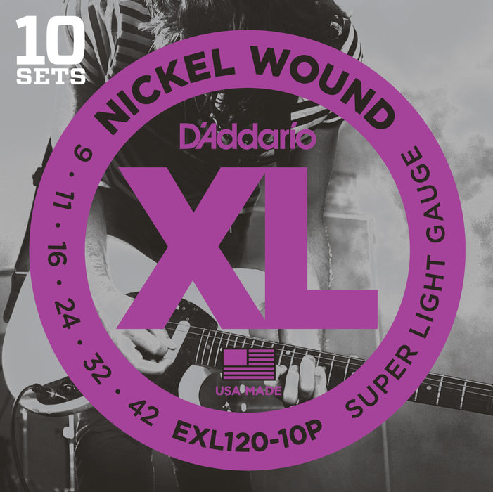 D'Addario EXL120 Nickel Wound Electric Guitar Strings, Super Light, 9-42 - Octave Music Store - 6