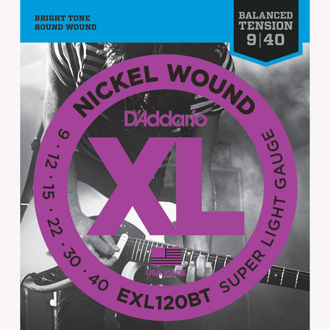 D'Addario EXL120BT Nickel Wound Electric Guitar Strings, Balanced Tension, Super Light, 09-40 - Octave Music Store - 1
