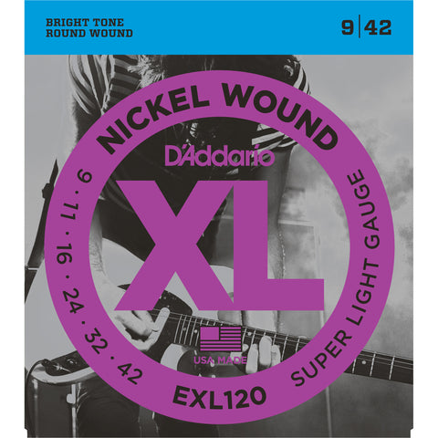 D'Addario EXL120 Nickel Wound Electric Guitar Strings, Super Light, 9-42 - Octave Music Store - 1