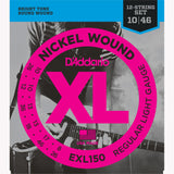 D'Addario EXL150 Nickel Wound Electric Guitar Strings, 12-String/Super Light, 10-46 - Octave Music Store - 1