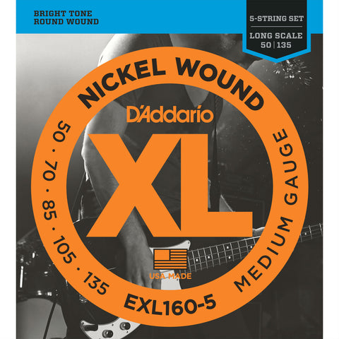 D'Addario EXL160-5 Nickel Wound Bass Guitar Strings, 5-String Long Scale, Medium Gauge, 50-135 - Octave Music Store - 1