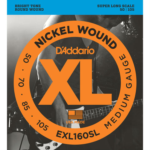 D'Addario EXL160SL Nickel Wound Bass Guitar Strings, Super Long Scale, Medium Gauge, 50-105 - Octave Music Store - 1