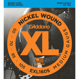 D'Addario EXL160S Nickel Wound Bass Guitar Strings, Short Scale, Medium Gauge, 50-105 - Octave Music Store - 1