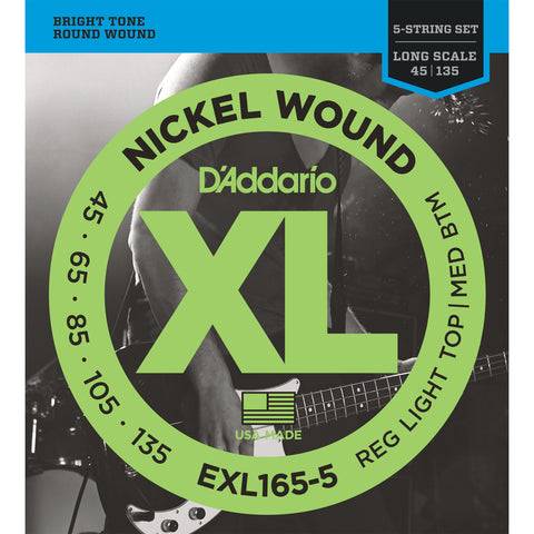 D'Addario EXL165-5 Nickel Wound Bass Guitar Strings, 5-String Long Scale, Custom Light Gauge, 45-135 - Octave Music Store - 1