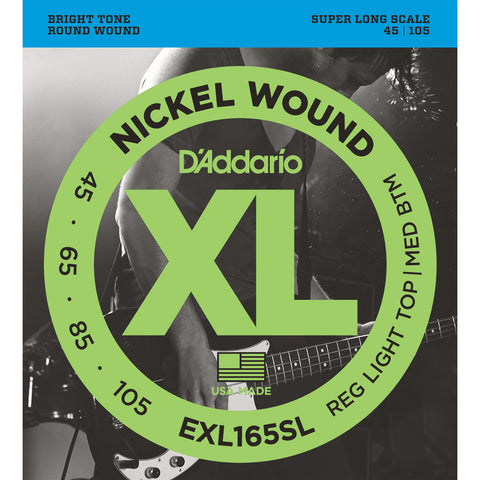 D'Addario EXL165SL Nickel Wound Bass Guitar Strings, Super Long Scale, Custom Light Gauge, 45-105 - Octave Music Store - 1