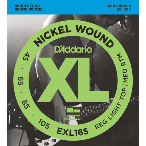 D'Addario EXL165 Nickel Wound Bass Guitar Strings, Long Scale, Custom Light Gauge, 45-105 - Octave Music Store - 1