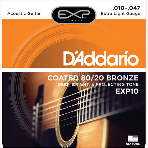D'Addario EXP10 Coated 80/20 Bronze Acoustic Guitar Strings, Extra Light, 10-47 - Octave Music Store - 1