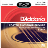 D'Addario EXP17 Coated Phosphor Bronze Acoustic Guitar Strings, Medium, 13-56 - Octave Music Store - 1
