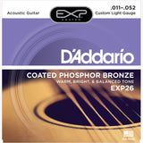 D'Addario EXP26 Coated Phosphor Bronze Acoustic Guitar Strings, Custom Light, 11-52 - Octave Music Store - 1