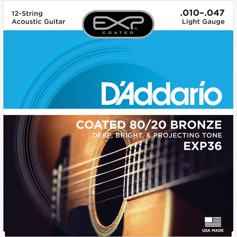 D'Addario EXP36 Coated 80/20 Bronze Acoustic Guitar Strings, 12-String, 10-47 - Octave Music Store - 1