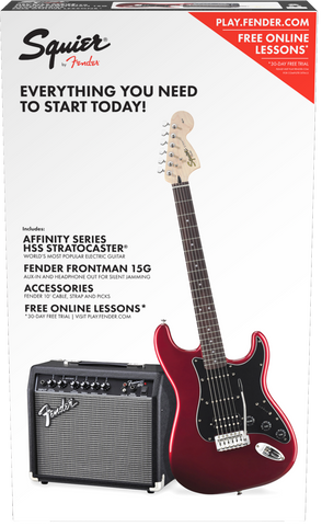 Squier-Affinity Series Stratocaster Pack: Candy Apple Red HSS