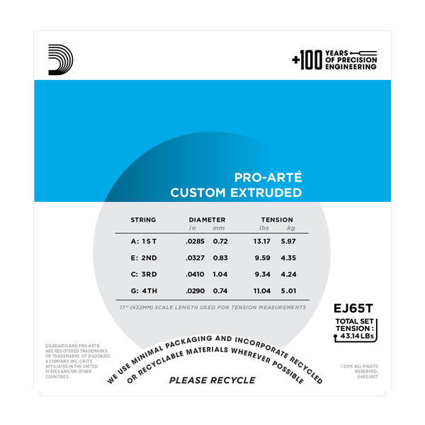 D'Addario Pro-Arte Custom Extruded Tenor Ukulele Strings - EJ65T - Octave Music Store - 3