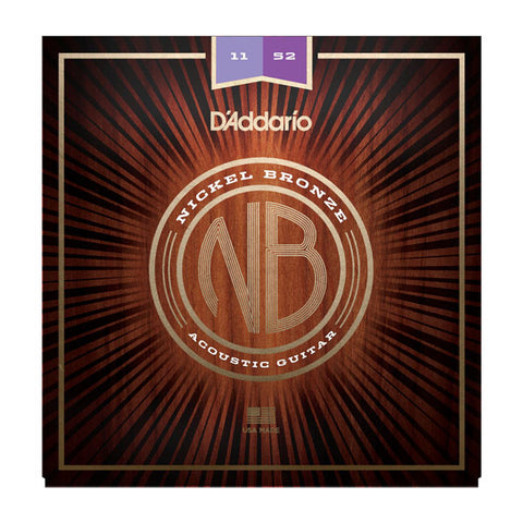 D'Addario NB1152 Nickel Bronze Acoustic Guitar Strings, Custom Light, 11-52 - Octave Music Store