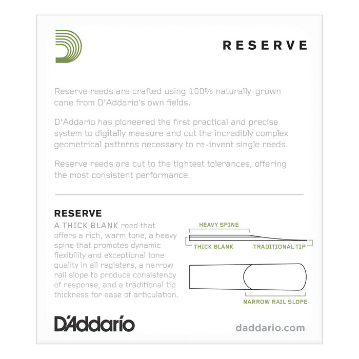 D'Addario Reserve Alto Saxophone Reeds 10-pack - Octave Music Store - 2