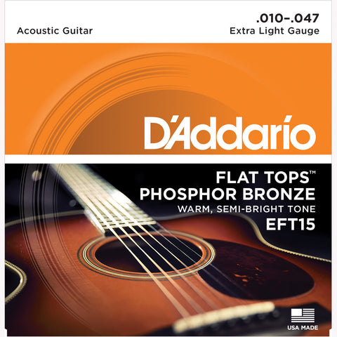 D'Addario EFT15 Flat Top Phosphor Bronze Acoustic Guitar Strings, Extra Light, 10-47 - Octave Music Store - 1