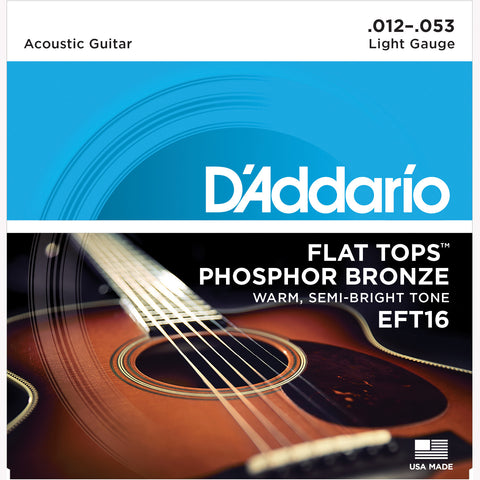 D'Addario EFT16 Flat Top Phosphor Bronze Acoustic Guitar Strings, Regular Light, 12-53 - Octave Music Store - 1