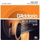 D'Addario EJ10 80/20 Bronze Round Wound Acoustic Guitar Strings, Extra Light, 10-47 - Octave Music Store - 1