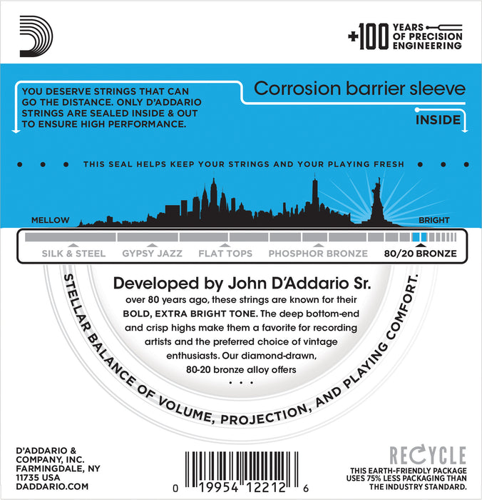 D'Addario EJ11 80/20 Bronze Round Wound Acoustic Guitar Strings, Light, 12-53 - Octave Music Store - 2