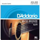 D'Addario EJ11 80/20 Bronze Round Wound Acoustic Guitar Strings, Light, 12-53 - Octave Music Store - 1