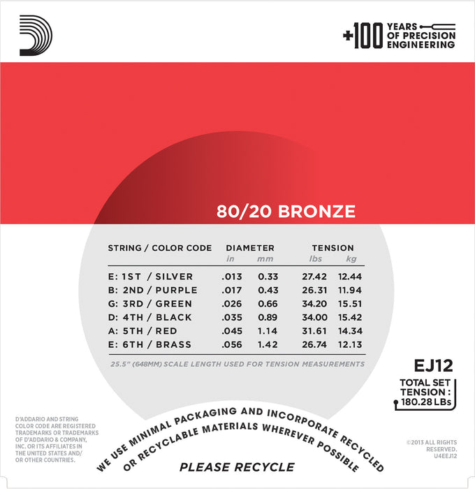 D'Addario EJ12 80/20 Bronze Round Wound Acoustic Guitar Strings, Medium, 13-56 - Octave Music Store - 3